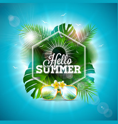 Hello summer with typography letter vector