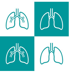 Human lungs line icon set vector