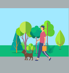 human walking with dog near trees leisure vector image