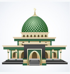 Islamic mosque building with green dome isolated o vector