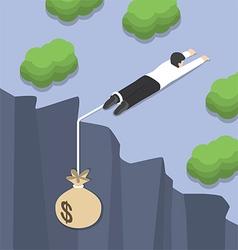 Isometric businessman holding on cliff edge vector