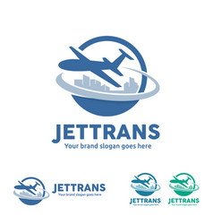 jet aircraft with globe and city skyline symbol vector image