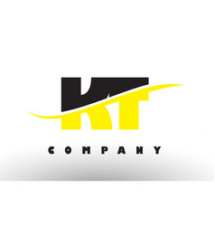 kt k t black and yellow letter logo with swoosh vector image