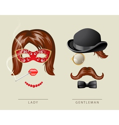 Lady and gentleman costume vector