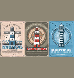 lighthouses nautical compass sailing ship ropes vector image