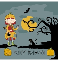 Little girl in witch costume on three pumpkins vector image