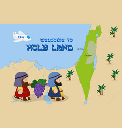map of israel with two spies welcome to holy land vector image