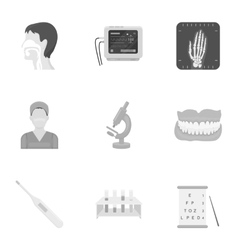 Medicine and hospital set icons in monochrome vector image
