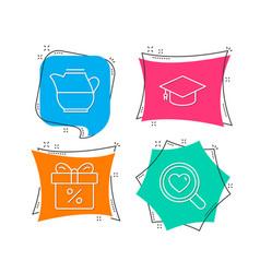 milk jug graduation cap and discount offer icons vector image