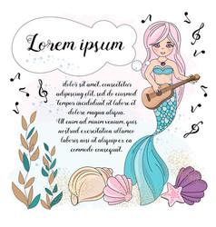 Music mermaid school autumn sea underwater vector