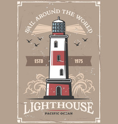 Nautical sail marine adventure lighthouse poster vector