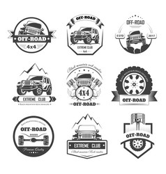 Off-road extreme car or auto driver club vector