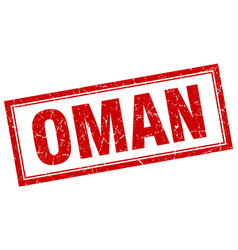 Oman red square grunge stamp on white vector