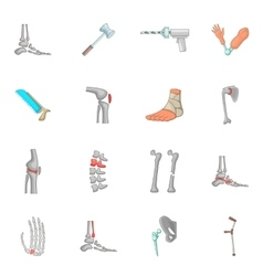 Orthopedic and spine icons set cartoon style vector