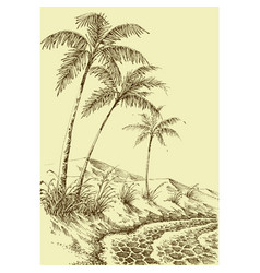 Palm trees beach on sea shore mountains in the vector