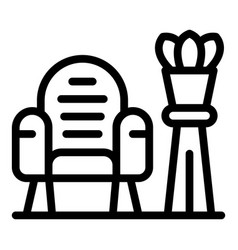 Quiet spaces armchair icon outline style vector