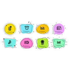 Recovery server alarm clock and infochart icons vector