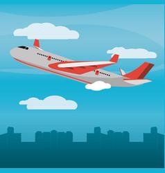 Red plane city daylight vector