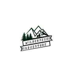 retro vintage mountain pine forest landscape wild vector image