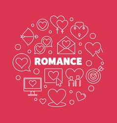 romance outline round on red vector image