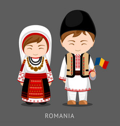 romanians in national dress with a flag vector image