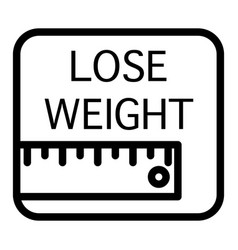 Ruler and lose weight inscription line icon vector