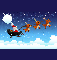 Santa claus riding the sleigh vector