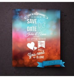 Save The Date template with messages of love vector image