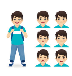 School asian boy emotions vector