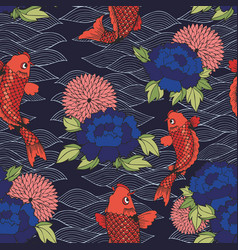 Seamless pattern with koi carp and flowers on a vector