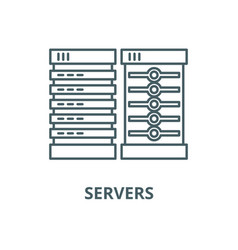 servers line icon linear concept outline vector image