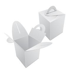 Set blank kraft paper gift box mockup white vector
