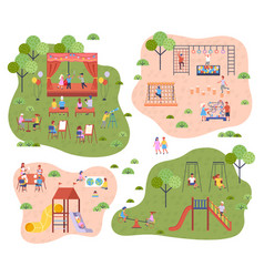 set children at modern kindergarten slides vector image