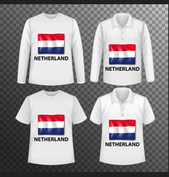 Set different male shirts with netherland flag vector