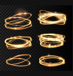 set golden glowing shiny circle light effect vector image