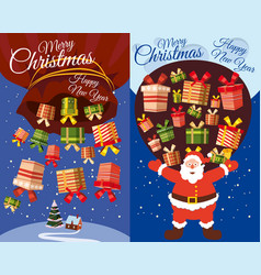 set of postcards santa claus flying with presents vector image