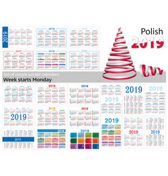 set of simple pocket calendars for 2019 two vector image