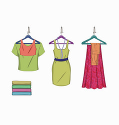 Set of trendy women things vector