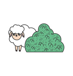 sheep bush nature cartoon design vector image
