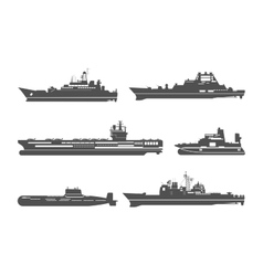 Silhouettes naval ships vector