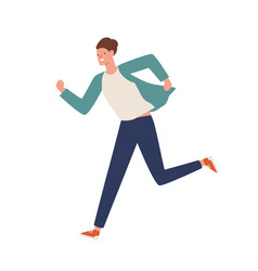 Smiling casual man running away flat vector