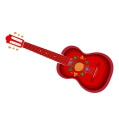 Spanish guitar with Mexican Aztec ornaments vector image