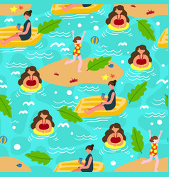 summer beach seamless pattern background vector image
