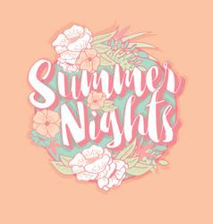 summer nights typography banner round design vector image