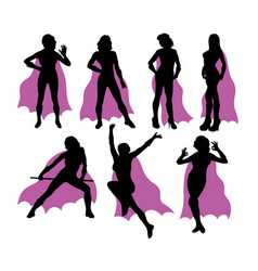 super girl silhouettes vector image