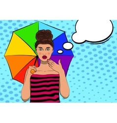 Surprised pop art pretty woman with an umbrella vector