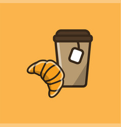 tea drink with fresh croissant vector image