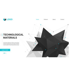 technology materials landing page with abstract vector image