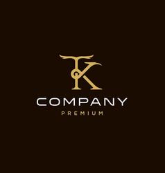 Tk kt t k elegant gold classic logotype design vector