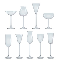 Types of Wine and Glasses Description Set of types vector